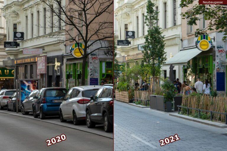 Neubaugasse vor und nach der Umgestaltung zur Begegnungszone, Autos, Bäume