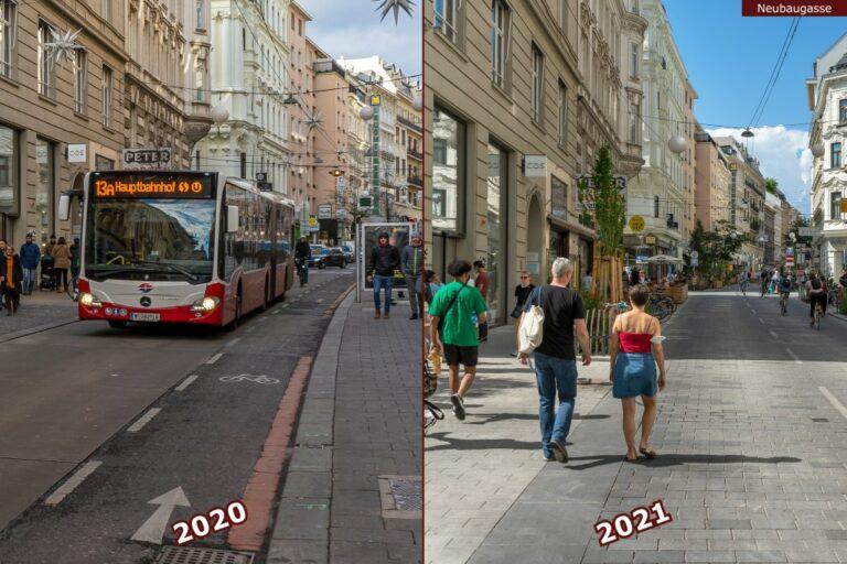 Neubaugasse vor und nach der Umgestaltung zur Begegnungszone, 13A (Bus), Fußgänger