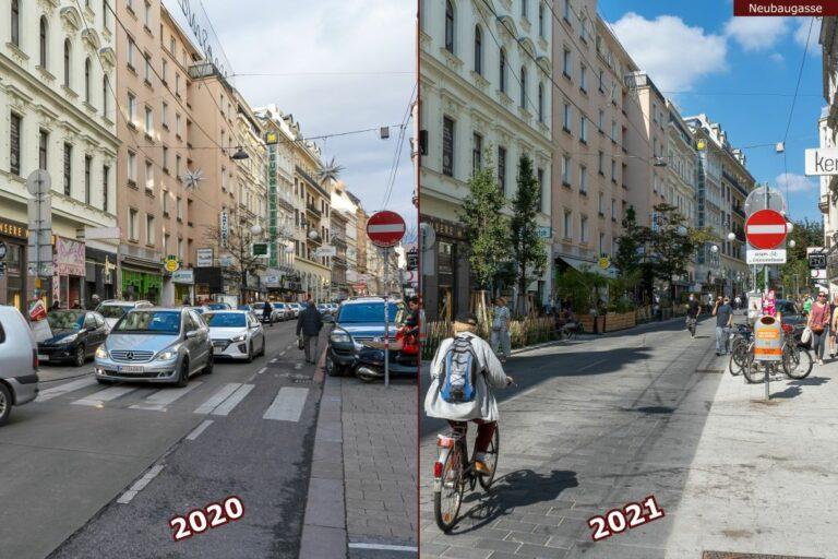 Neubaugasse vor und nach der Umgestaltung zur Begegnungszone, bei der Lindengasse