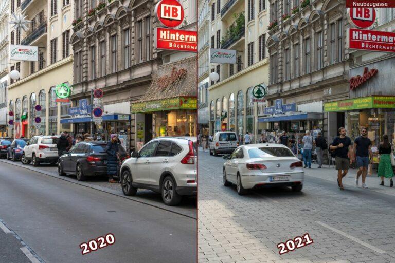 Neubaugasse vor und nach der Umgestaltung zur Begegnungszone, Hintermayer, Spar
