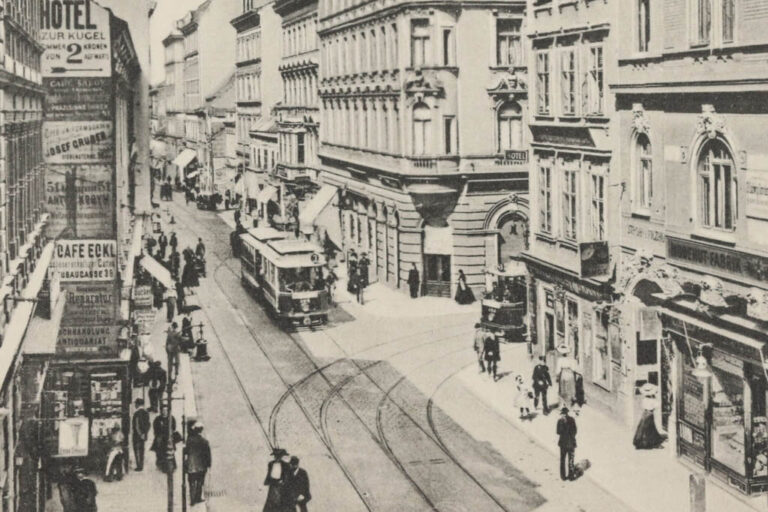 historische Aufnahme der Ecke Neubaugasse/Siebensterngasse, Straßenbahn