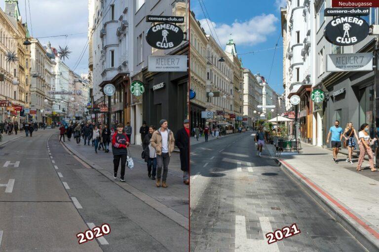 Neubaugasse vor und nach der Umgestaltung zur Begegnungszone, Camera Club, Atelier 7, Starbucks, nahe Mariahilfer Straße