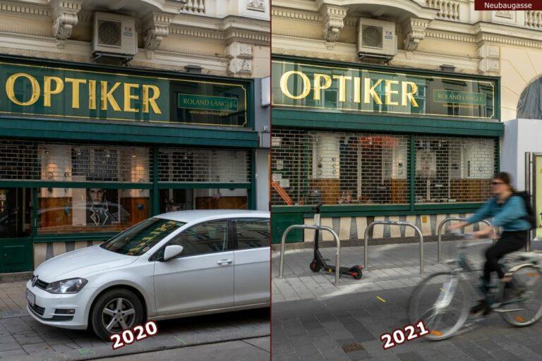 Neubaugasse vor und nach der Umgestaltung zur Begegnungszone, Auto, Radfahrer, Optiker