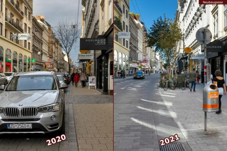 Neubaugasse vor und nach der Umgestaltung zur Begegnungszone, Kohlmaier Wien, Spar Gourmet, Mistkübel, Autos, Fußgänger