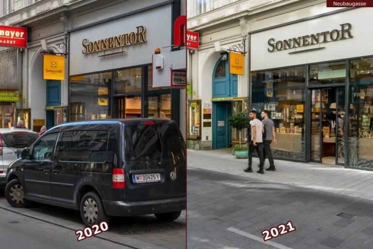 Neubaugasse vor und nach der Umgestaltung zur Begegnungszone, Filiale von Sonnentor