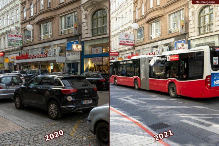 Neubaugasse vor und nach der Umgestaltung zur Begegnungszone, parkende Autos, Bus 13A