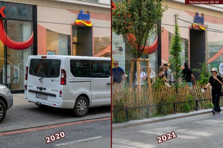 Verkehrsberuhigung und Begrünung in der Neubaugasse, 1070 Wien