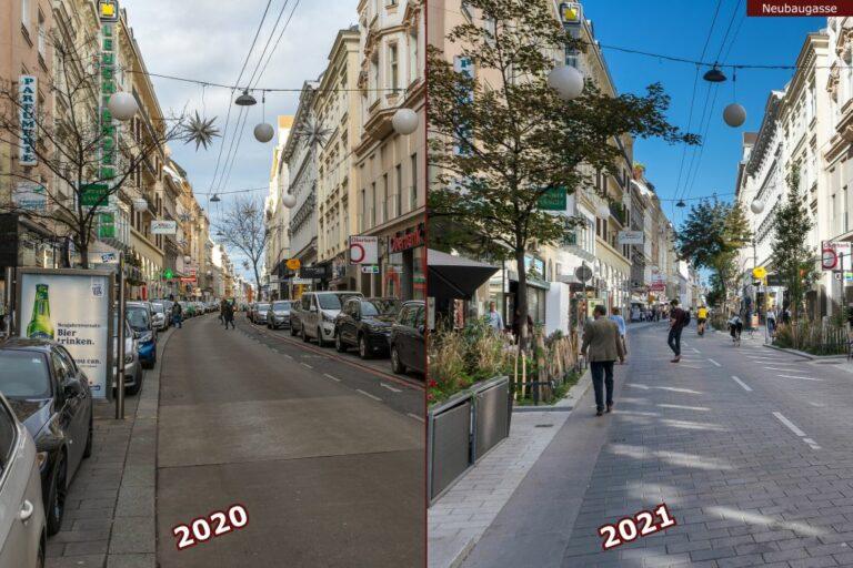 Neubaugasse vor und nach der Umgestaltung zur Begegnungszone, parkende Autos, Fußgänger, Bäume, Geschäfte