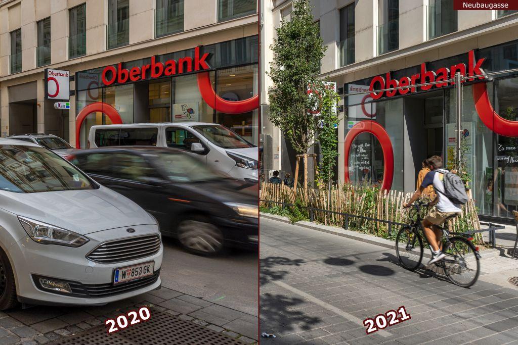 Neubaugasse vor und nach der Umgestaltung zur Begegnungszone, Oberbank, Autos, Radfahrer, junger Baum