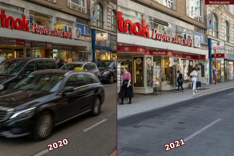 """Neubaugasse vor und nach der Umgestaltung zur Begegnungszone, Mastnak, """"Papier sind wir"""""""