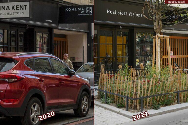 Neubaugasse vor und nach der Umgestaltung zur Begegnungszone, Auto, Baumscheibe