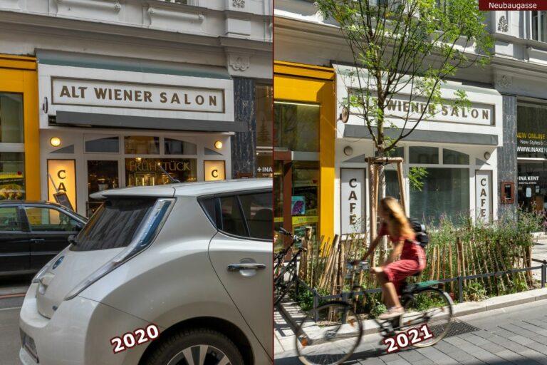 Neubaugasse vor und nach der Umgestaltung zur Begegnungszone, Alt Wiener Salon, Café, Autos, Radfahrerin, neuer Baum