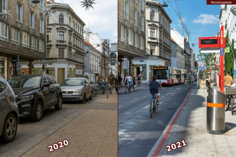 Neubaugasse vor und nach der Umgestaltung zur Begegnungszone, parkende Autos, Haltestelle 13A, fahrender Bus, Radfahrer, Westbahnstraße