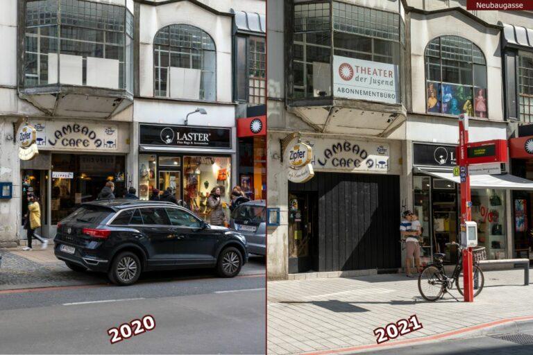 Neubaugasse vor und nach der Umgestaltung zur Begegnungszone, Lambada Café. Laster, Theater der Jugend Abonnementbüro, Bushaltestelle
