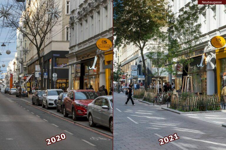 Neubaugasse vor und nach der Umgestaltung zur Begegnungszone, Bäckerei Schwarz, Autos, neue Bäume, Pflasterung