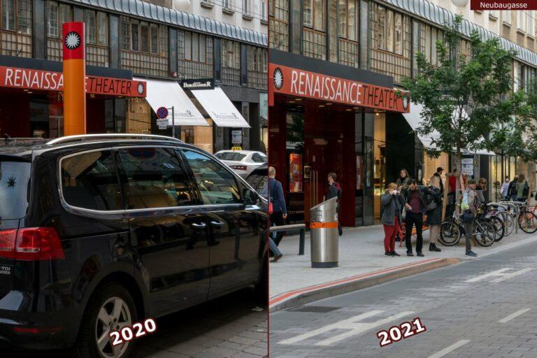 Neubaugasse vor und nach der Umgestaltung zur Begegnungszone, Renaissance Theater