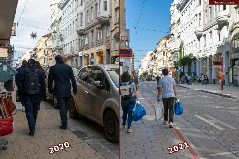 Neubaugasse vor und nach der Umgestaltung zur Begegnungszone, Passanten, parkende Autos, Haltestelle 13A