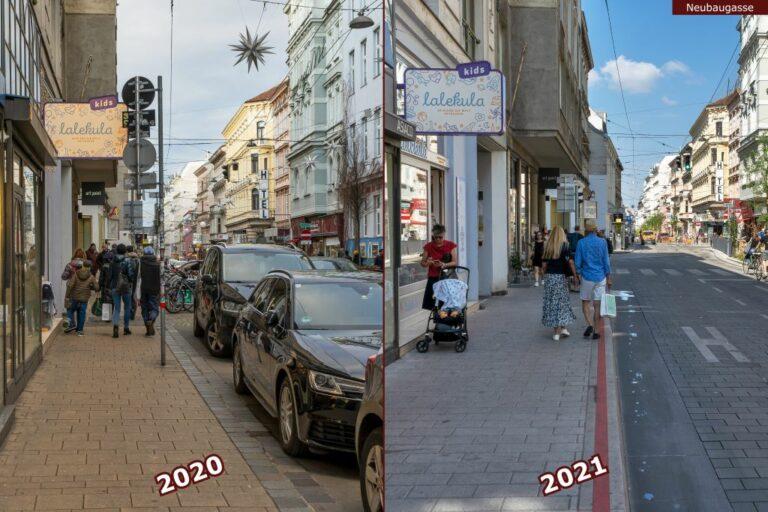 Neubaugasse vor und nach der Umgestaltung zur Begegnungszone, lalekula