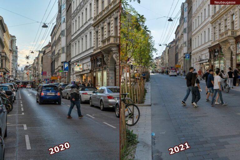 Neubaugasse vor und nach der Umgestaltung zur Begegnungszone, Autos, Fußgänger