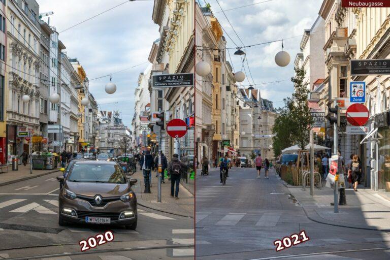 Neubaugasse vor und nach der Umgestaltung zur Begegnungszone, Auto, Gleise, Fußgänger