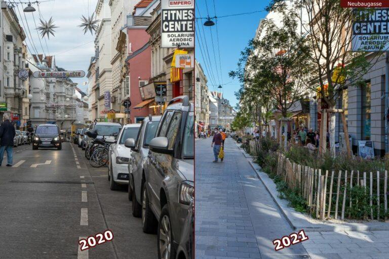 Neubaugasse vor und nach der Umgestaltung zur Begegnungszone, Autos, Fußgänger, neue Bäume, Geschäfte