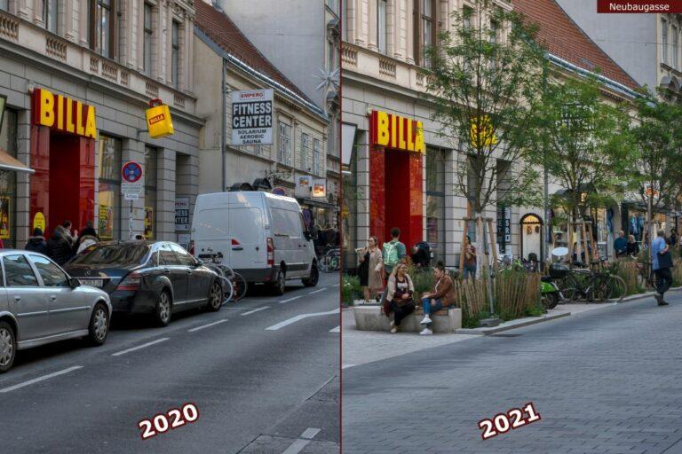 Neubaugasse vor und nach der Umgestaltung zur Begegnungszone, Billa. Fitness Center