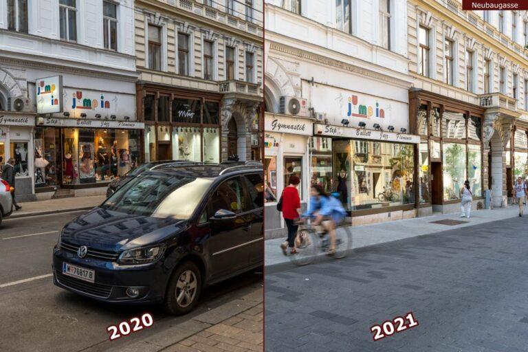 Neubaugasse vor und nach der Umgestaltung zur Begegnungszone