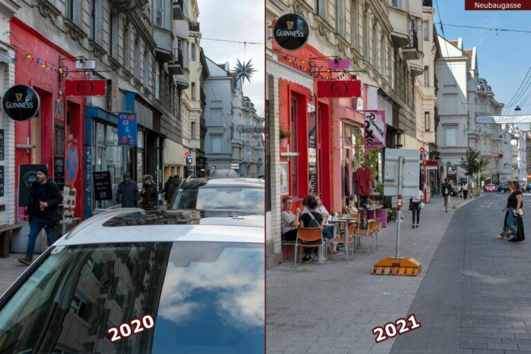 Neubaugasse vor und nach der Umgestaltung zur Begegnungszone, Lokale