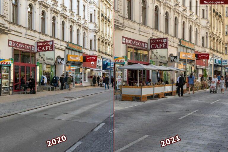 Neubaugasse vor und nach der Umgestaltung zur Begegnungszone, Bocan's Café, Radatz, Backwerk