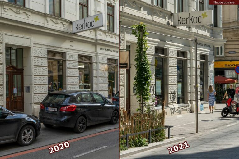 Neubaugasse vor und nach der Umgestaltung zur Begegnungszone, Autos, Begrünung, Rankpflanze, Nebeldusche, Kerkoc