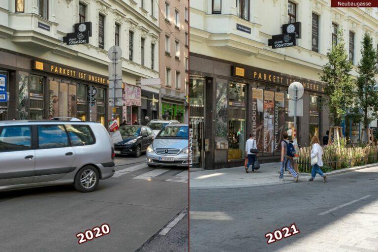 Neubaugasse vor und nach der Umgestaltung zur Begegnungszone, an der Ecke zur Lindengasse