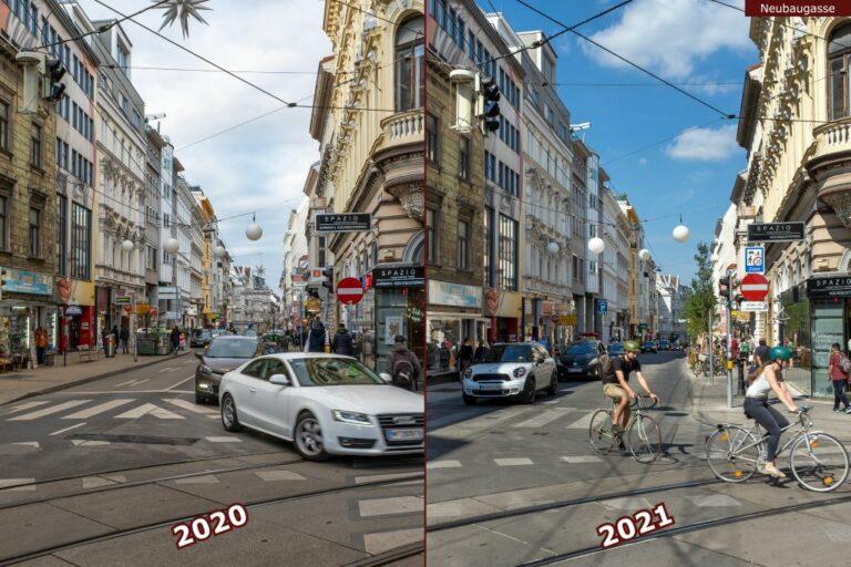 Neubaugasse vor und nach der Umgestaltung zur Begegnungszone, Autos, Radfahrer, Straßenbahngleise