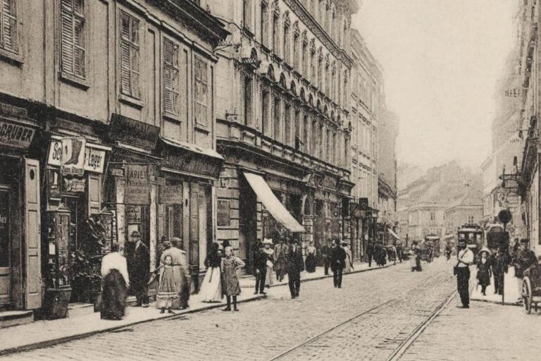 historische Aufnahme der Neubaugasse, Straßenbahngleise
