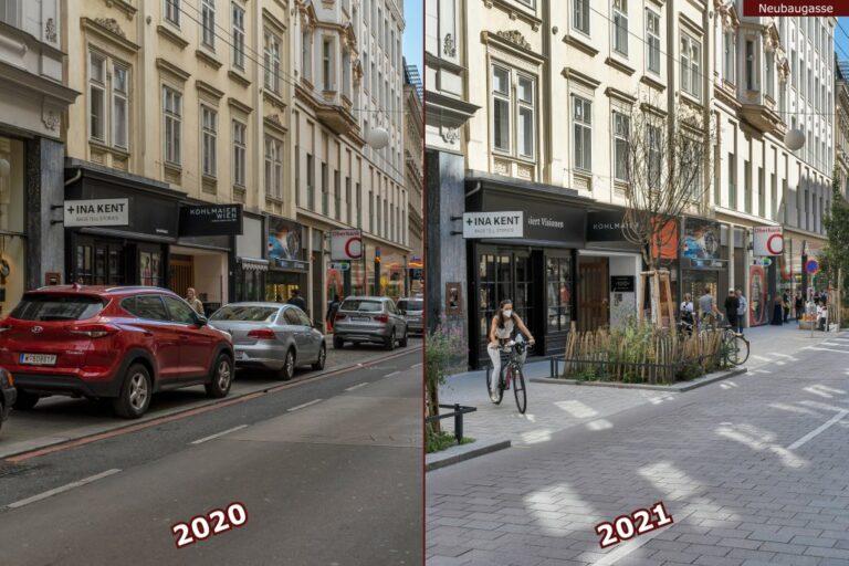 Neubaugasse vor und nach der Umgestaltung zur Begegnungszone, Autos, Radfahrerin, Bäume, Grünflächen, Ina Kent, Oberbank, DM