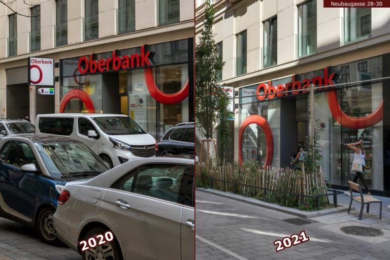Neubaugasse vor und nach der Umgestaltung zur Begegnungszone, Autos, Begrünung, Oberbank