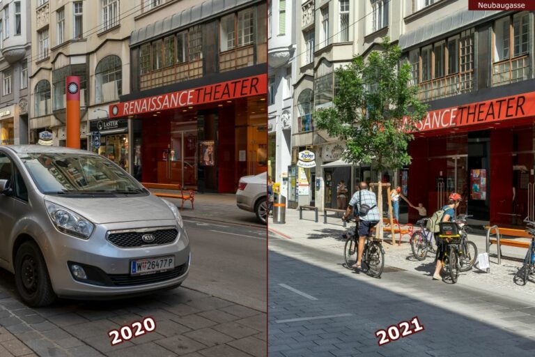 Neubaugasse vor und nach der Umgestaltung zur Begegnungszone, parkende Autos, Radfahrer, Renaissance Theater
