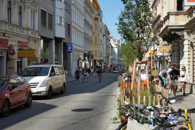 Begegnungszone Neubaugasse, Autos, Radfahrer, Räder, Bäume, Passanten