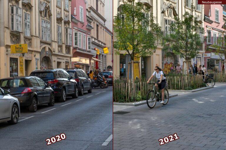 Neubaugasse vor und nach der Umgestaltung zur Begegnungszone, Autos, Fahrradfahrerin, Geschäfte, historische Gebäude