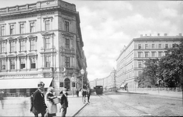 Um 1900: Blaues Haus (rechts) im Originalzustand der Gründerzeit (©ÖNB)
