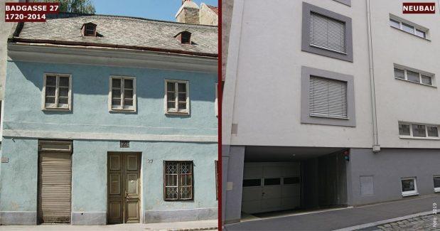 Neubau statt Altbau: Badgasse 27 (9. Bezirk, Foto links: MA 19/Stadt Wien)