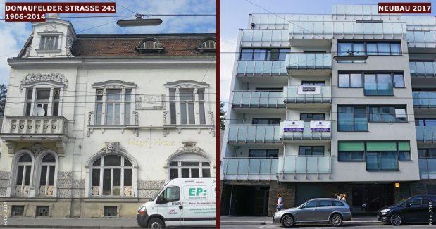 Neubau statt Altbau: Donaufelder Straße 241 (22. Bezirk, Foto links: Maclemo, CC BY-SA 3.0)