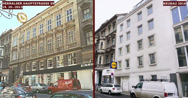Neubau statt Altbau: Hernalser Hauptstraße 59 (17. Bezirk, Foto links: MA 19/Stadt Wien)