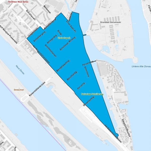 Plan Flächenwidmung/Umwidmung für Kaisermühlen im Jahr 2019