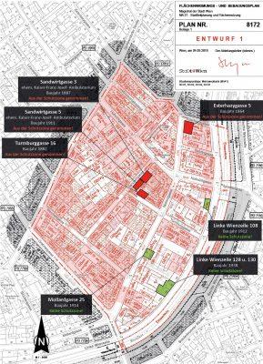 Plan mit Schutzzonen für Umwidmung