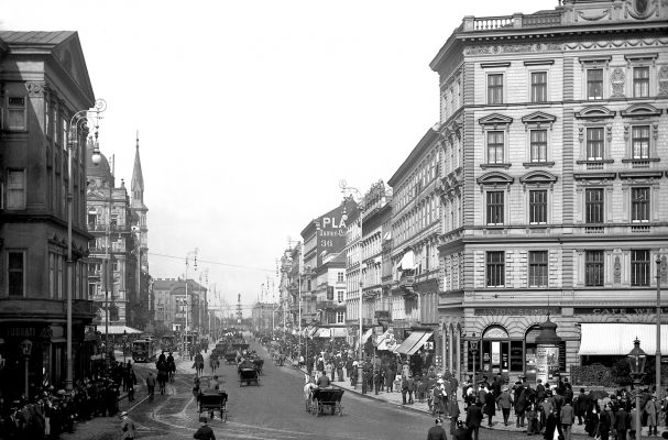 Praterstraße um 1905, im Hintergrund ein Zug der Type d_G Richtung Praterstern fahrend