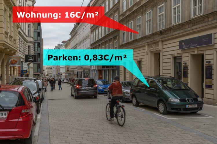 Otto-Bauer-Gasse, Vergleich zwischen Quadratmeterpreisen für Wohnen und Parken, Wien