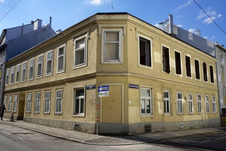 Eckhaus in der Schopenhauerstraße/Abt-Karl-Gasse, Wien, Währing, nach Teilabriss