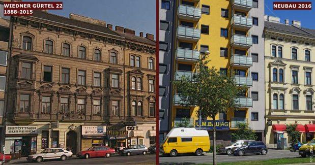 Neubau statt Altbau: Wiedner Gürtel 22 (4. Bezirk, Foto links: MA 19/Stadt Wien)